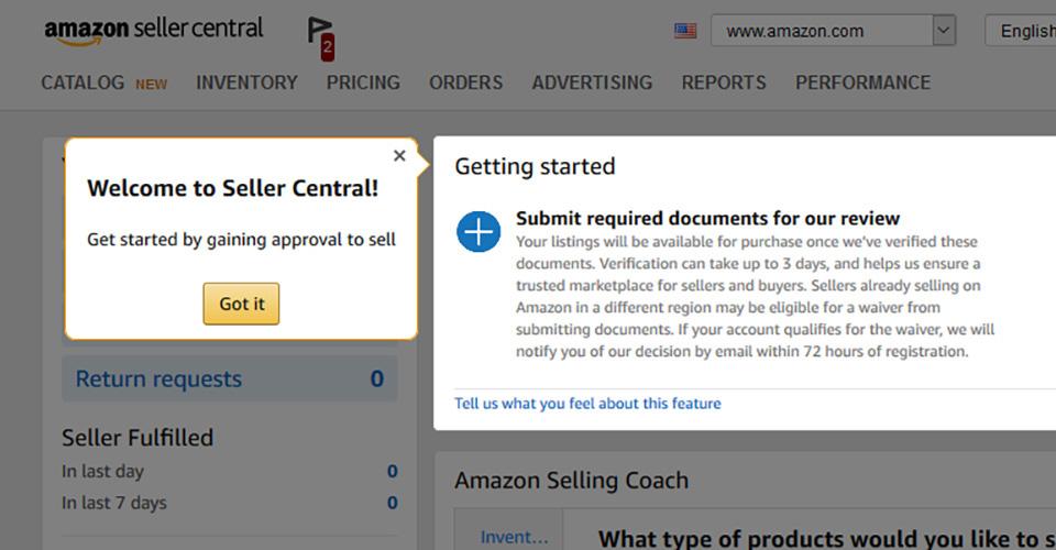 Deschiderea contului de vânzător pe Amazon